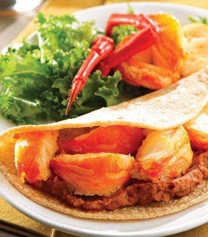 Tacos de camarón con frijoles