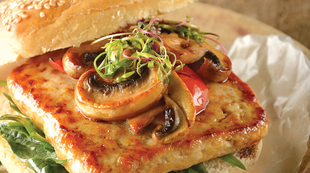 Hamburguesa de pollo y hongos