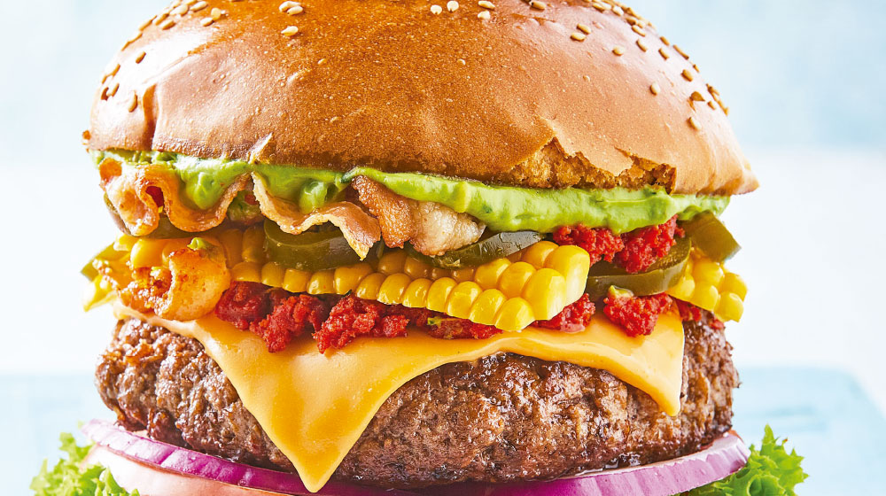 hamburguesa mexicana con guacamole