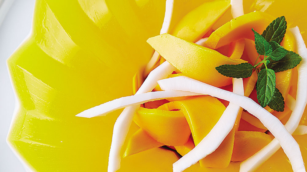 Gelatina de mango con coco