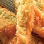 Flores de calabaza rellenas de pollo al ajo y queso de cabra