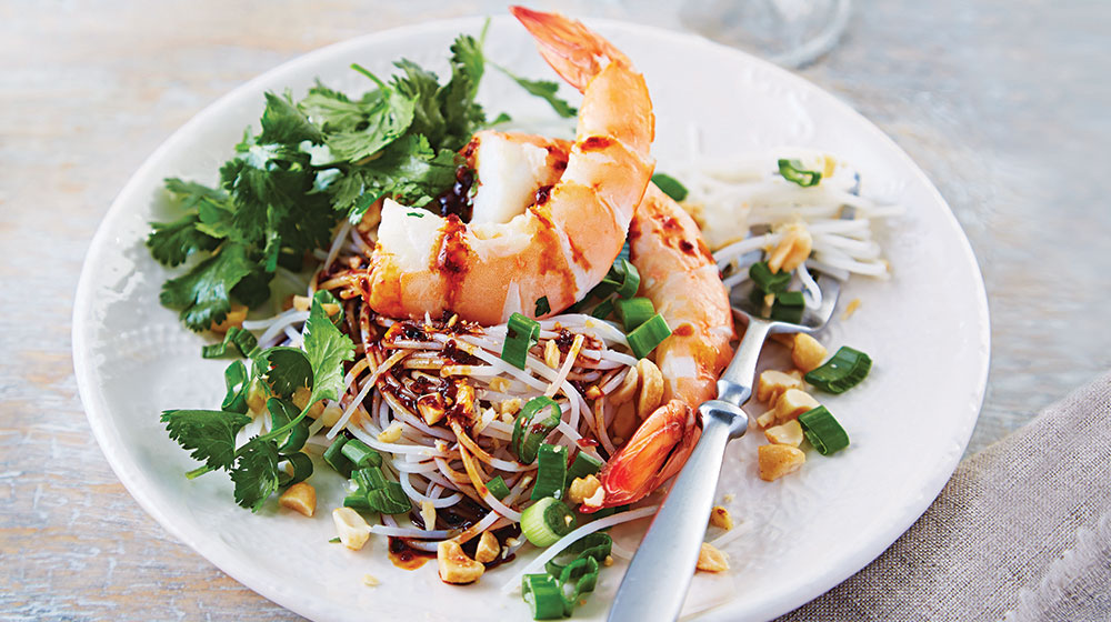 Fideo de arroz con camarón