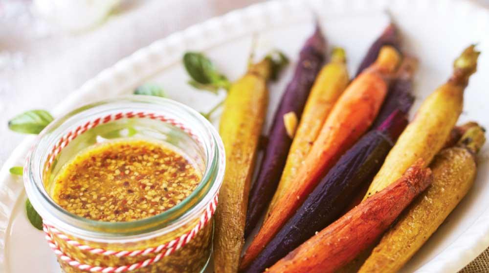zanahorias rostizadas con salsa de mostaza