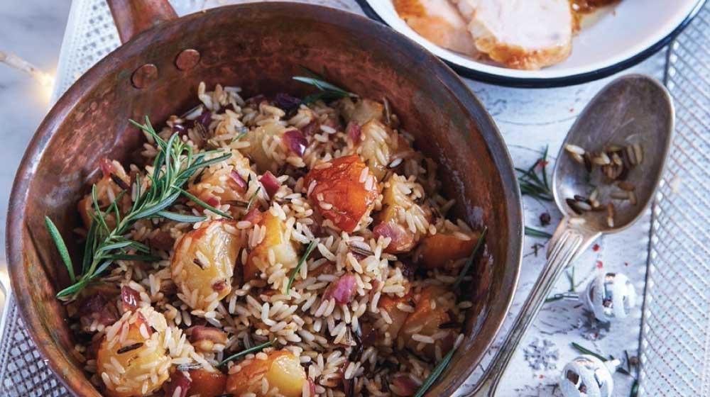 relleno de pavo de arroz y pera salvaje