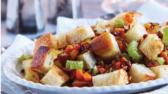 relleno de pavo de verduras con crutones