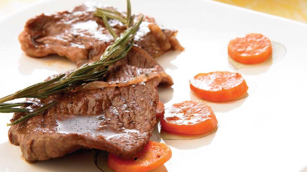 Bistec con zanahorias al jerez