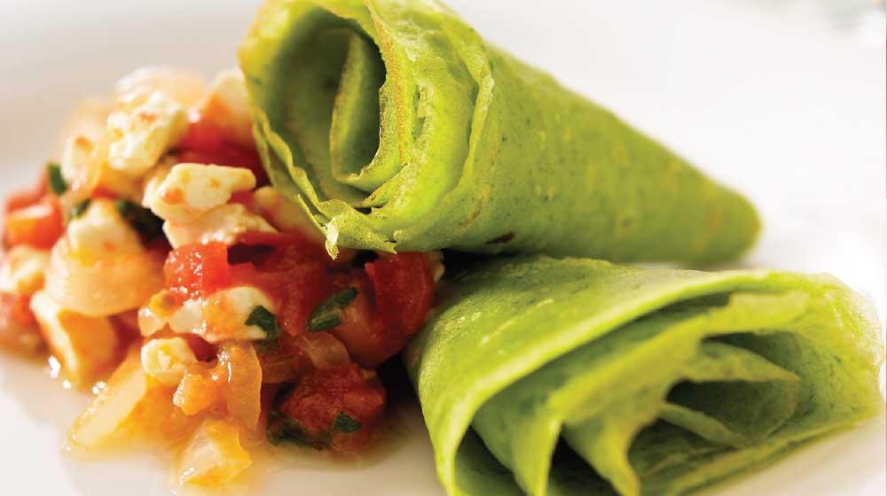 Crepas verdes con queso muy nutritivas