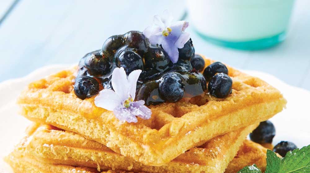 Ricos waffles con avena y moras azules
