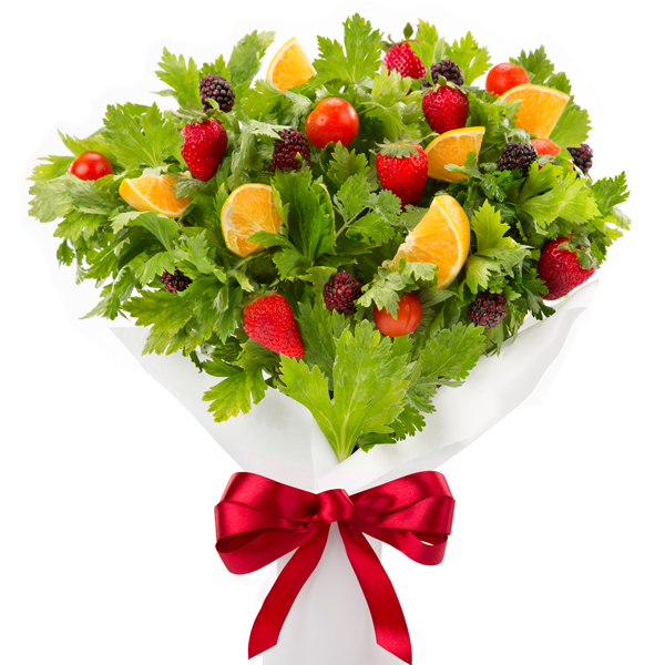 Ramo de flores con frutas