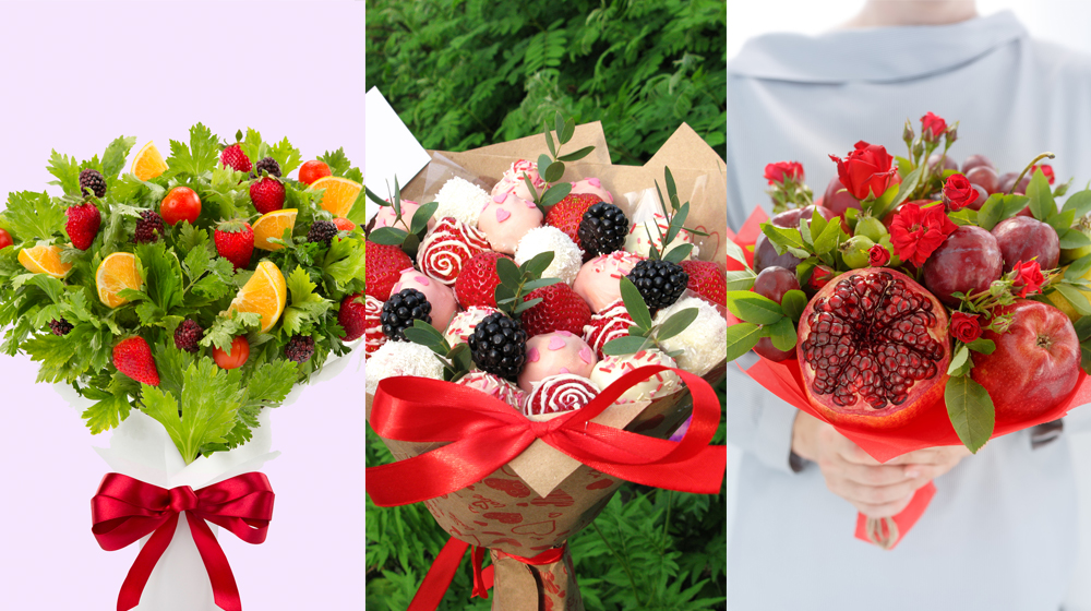 ramos de flores con frutas