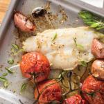 Filete de pescado con jitomates asados