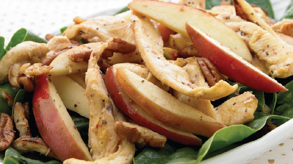 Deliciosa combinación de fajitas de pollo con manzana