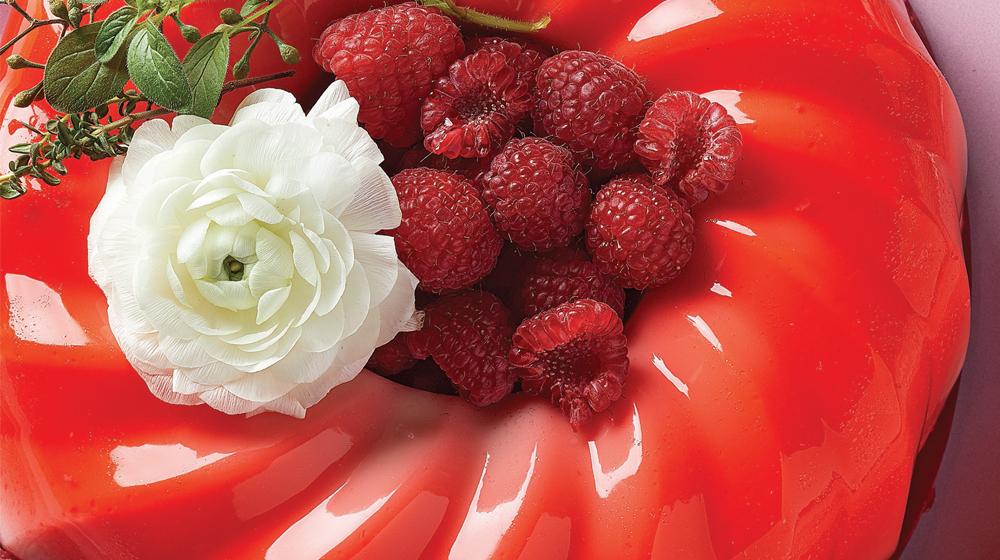gelatina flotantina de frambuesa