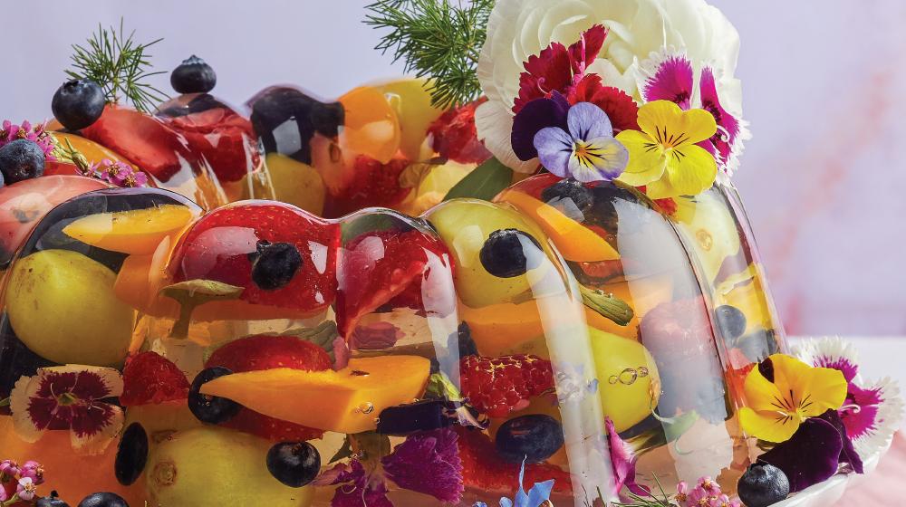 Gelatina con frutas y lavanda