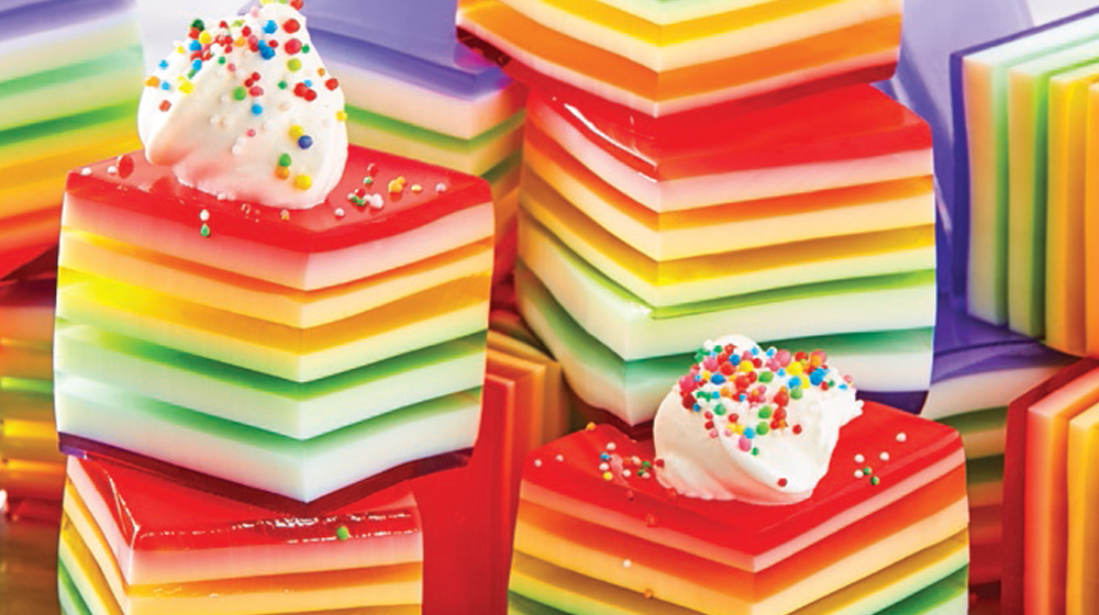 gelatina arcoiris frutal