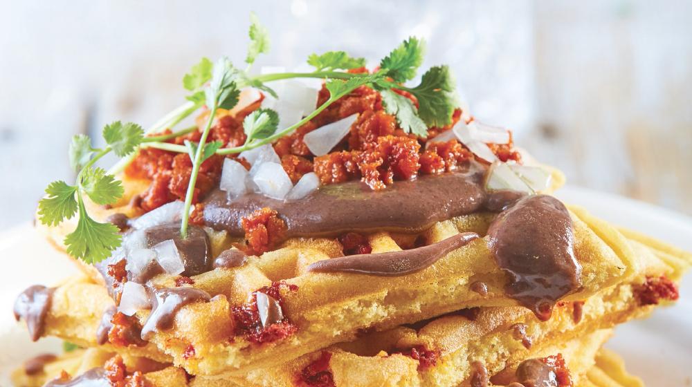 Exquisitos y tradicionales waffles a la veracruzana