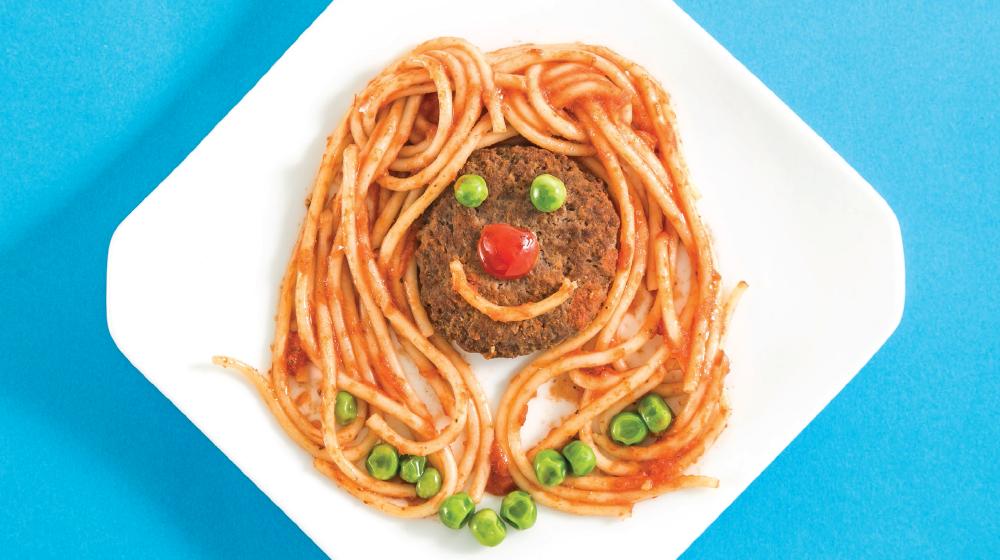Espagueti con carne molida de res para niños