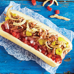 Hot dog con carne de cerdo BBQ