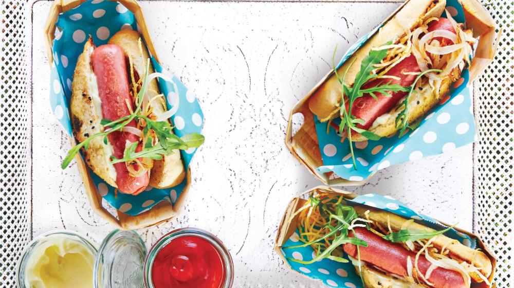 Hot dog mini en baguette para compartir