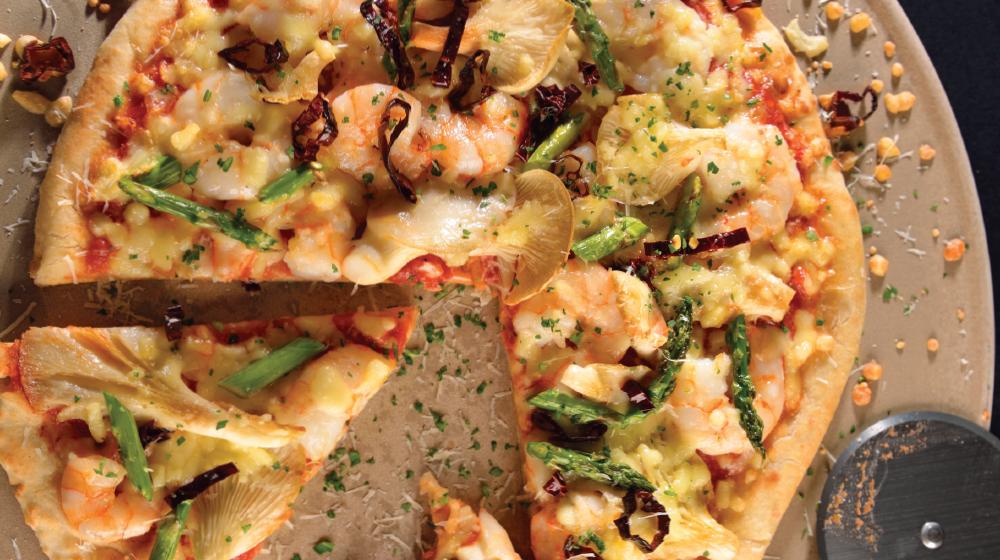 Pizza de camarones picantes