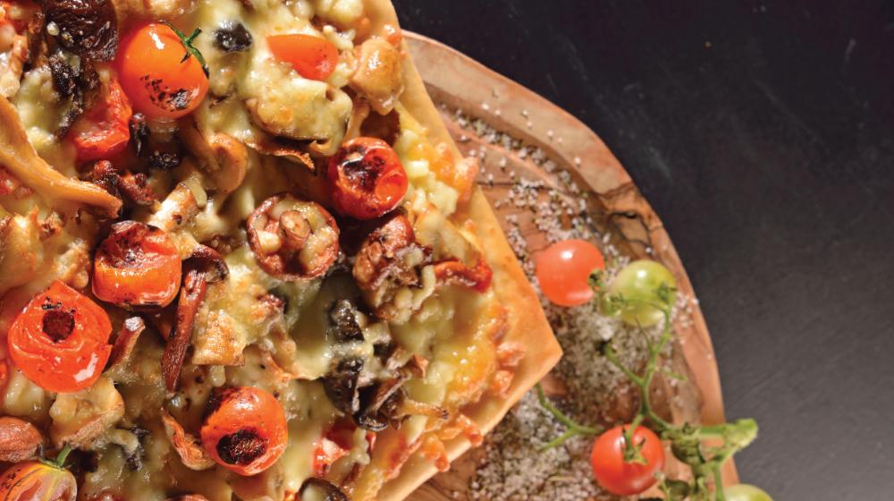 Clásica pizza de champiñones