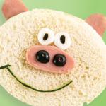 Sándwich de jamón en forma de cerdito