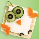 Sándwich de queso en forma de búho