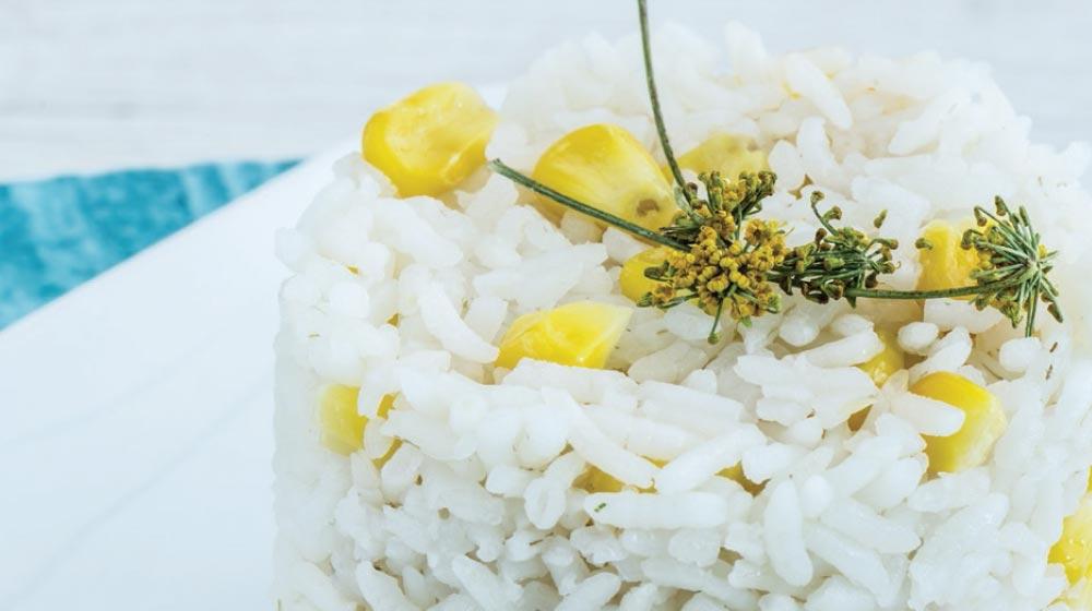arroz blanco con elote