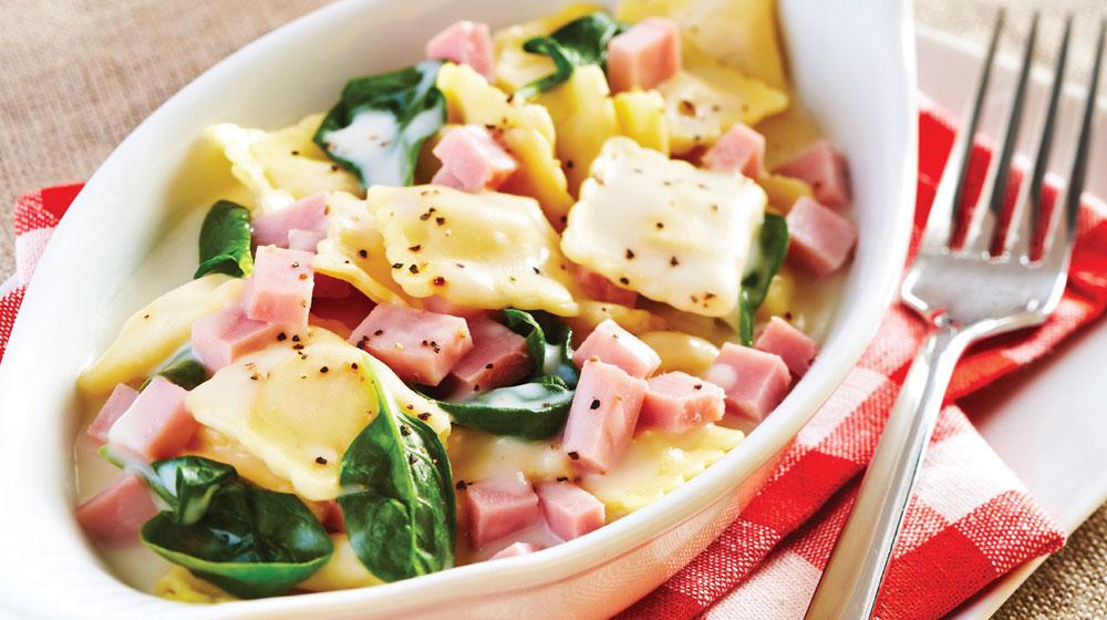 ravioles de espinaca con jamón