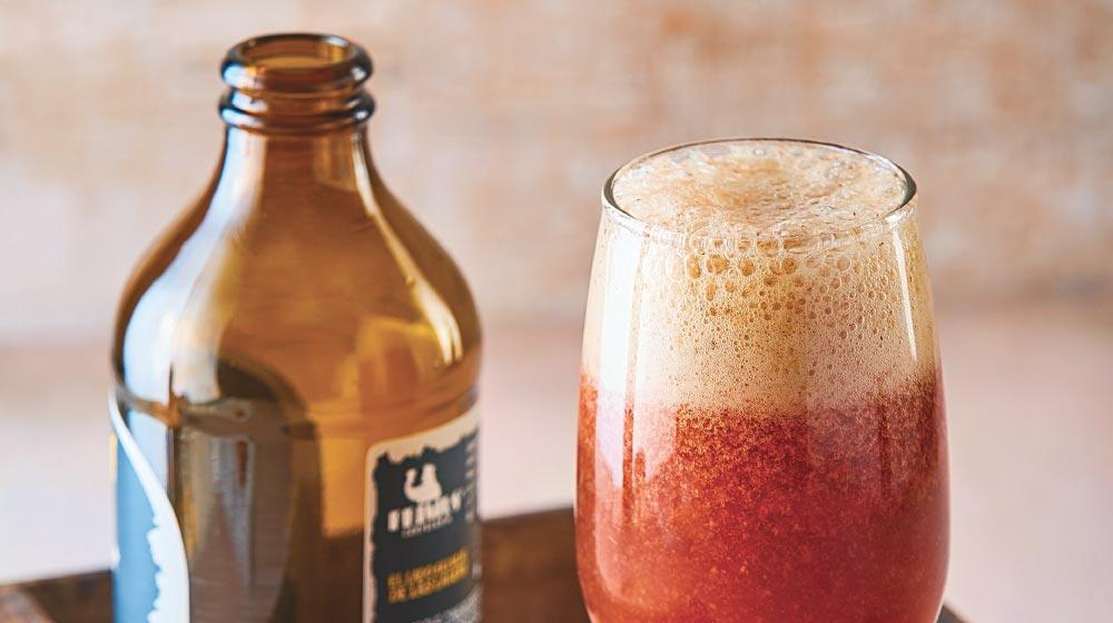 Sorbete de fresa con cerveza