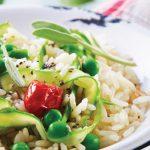 arroz con verduras y vinagreta de chía