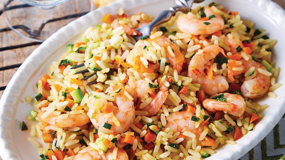arroz frito con camarón