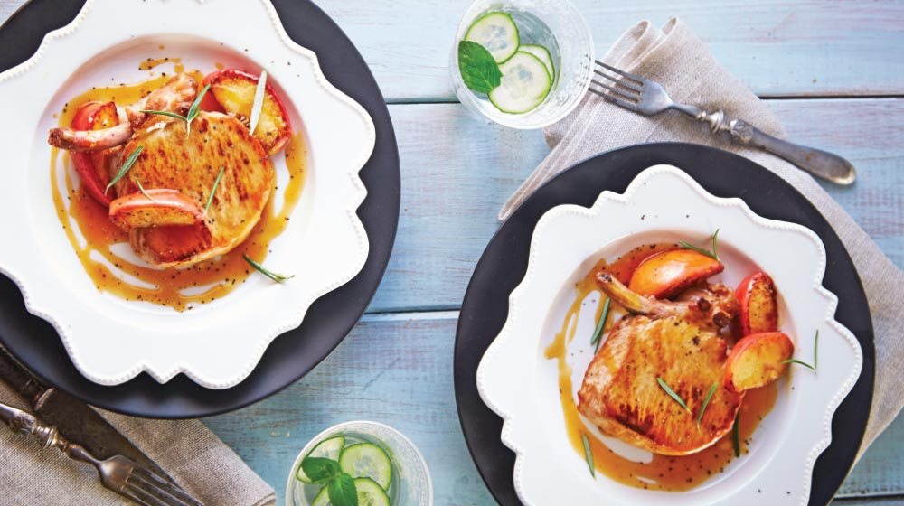chuleta de cerdo en salsa de manzana