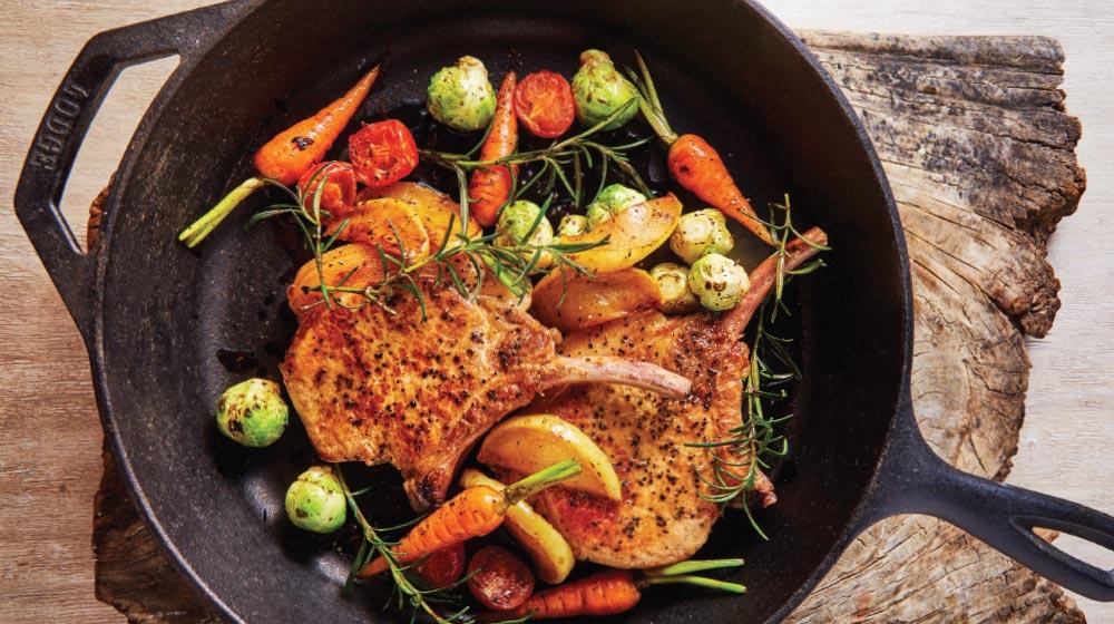 Como preparar chuleta de cerdo con verduras