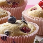 muffin de blueberry y frambuesas