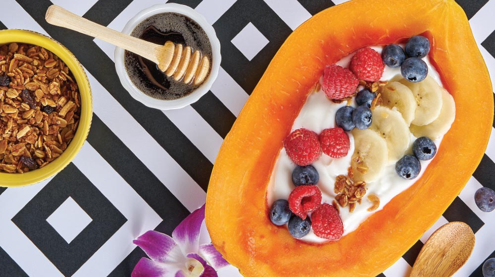 papaya con yogurt