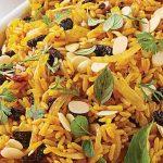 arroz amarillo con chabacano y almendra