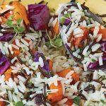 arroz salvaje con camote y col morada