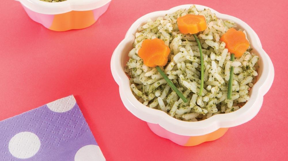 como preparar arroz verde para niños