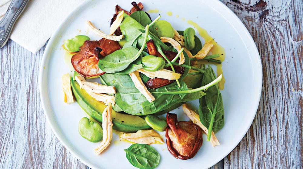ensalada de shiitake con pollo