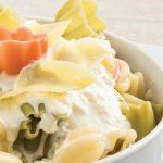 pasta con crema de alcachofa y parmesano