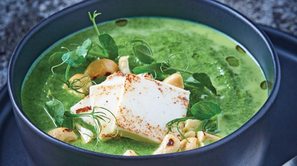 crema verde con tofu