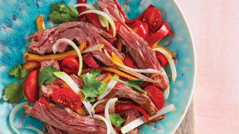 fajitas de carne arrachera con verdura