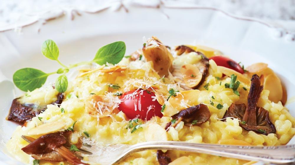 receta de risotto con champiñones y almendras