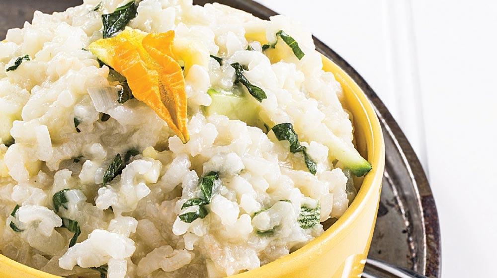 receta de risotto cremoso con espinacas y calabaza