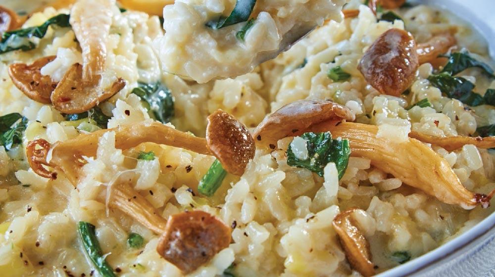 receta de risotto con espinacas y hongos