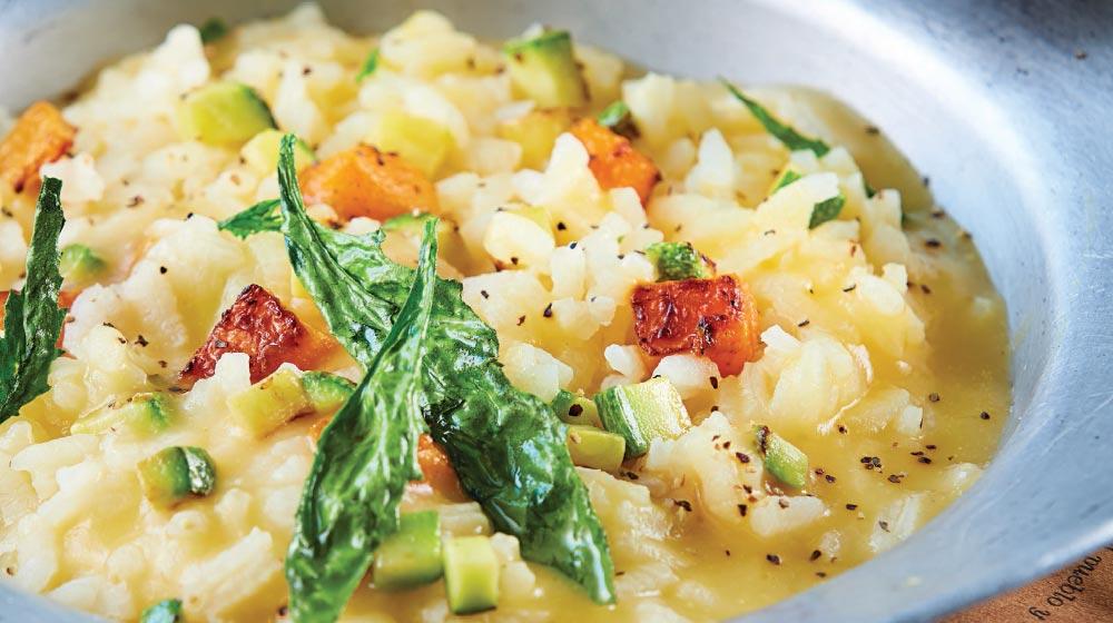 risotto receta con verduras y tocino