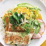 tofu receta con ensalada y germen de soya