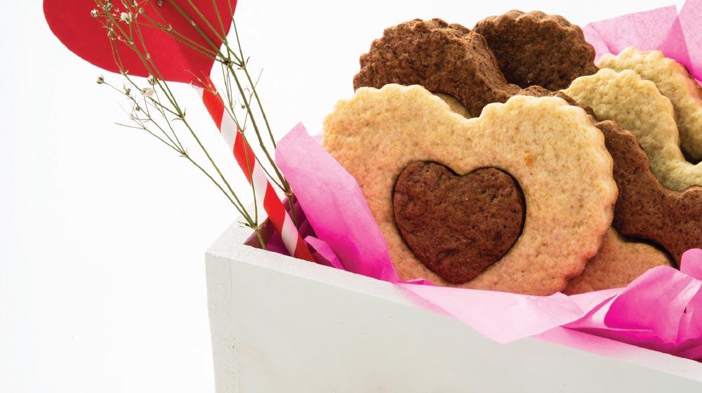galletas de corazón bicolores