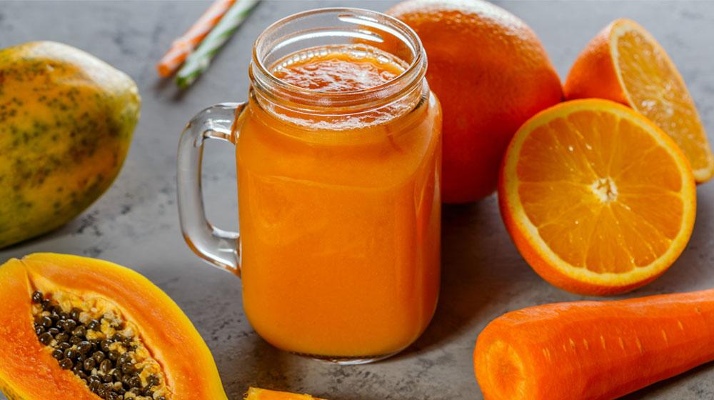jugo de papaya, naranja y zanahoria